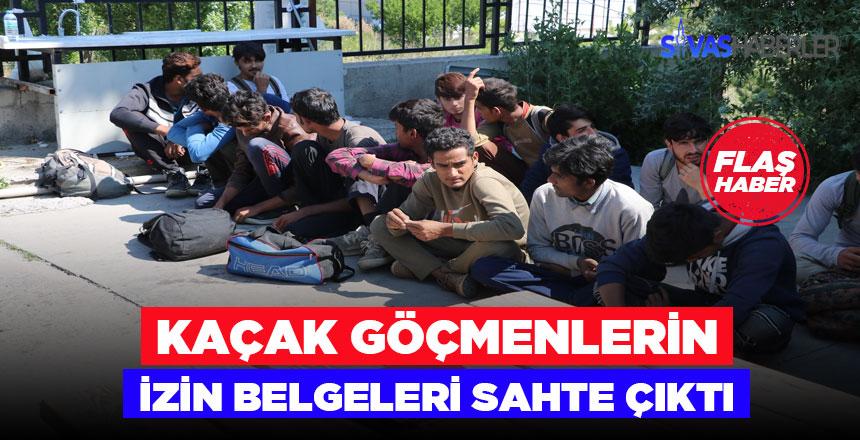 Sahte izin belgeli 15 kaçak göçmen yakalandı