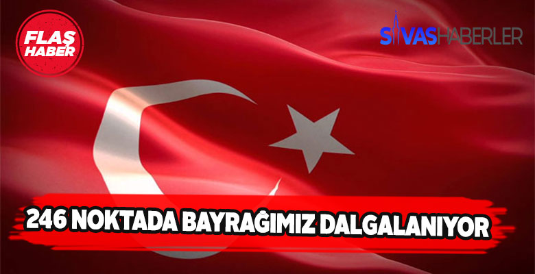 Türk Bayrağı 246 noktada gökleri süslüyor