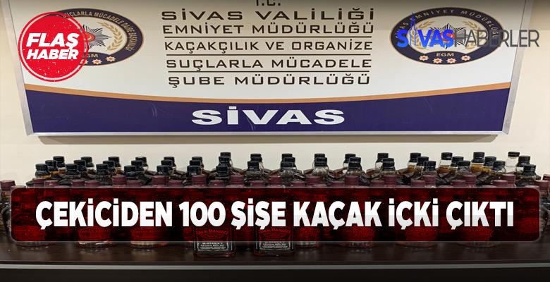 Sivas'ta 100 şişe kaçak içki ele geçirildi