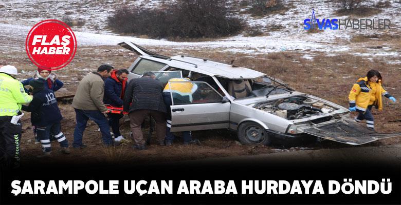 Şarampole uçan arabada 4 kişi yaralandı