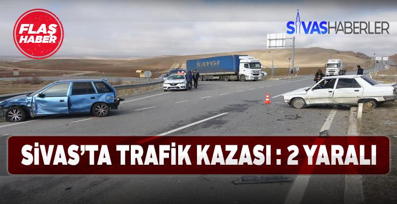 Sivas'taki trafik kazasında 2 yaralı