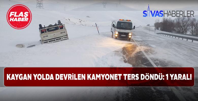 Gürün'de ters dönen kamyonette 1 kişi yaralandı