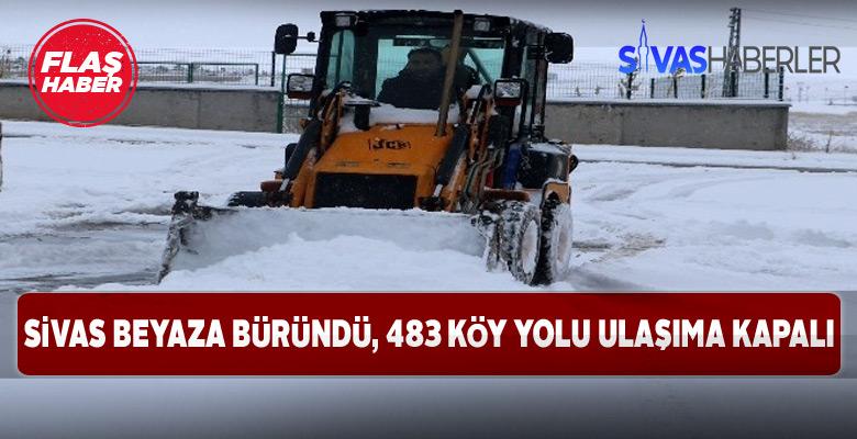 Sivas'ta köy yollarının çoğu kapandı