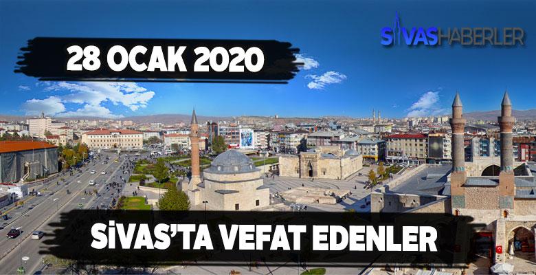 Sivas'ta 28 ocak Salı vefat edenler