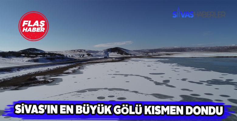 Soğuk havalar Tödürge gölünü dondurdu