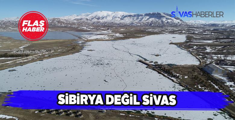 Tamamen buzla kaplanan Ulaş Gölü Sibirya'yı aratmadı