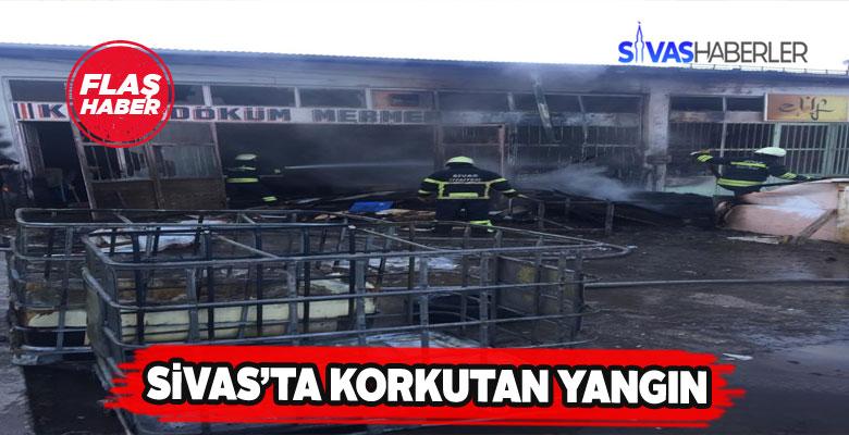 Sivas'ta sanayide yanan dükkan kül oldu