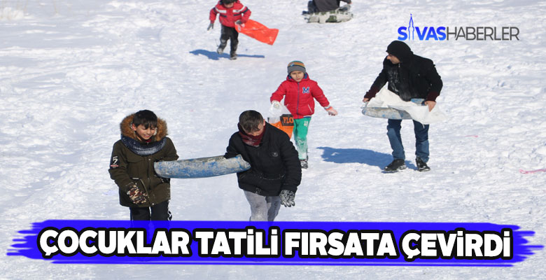 Sivas'ta öğrenciler okulların tatil edilmesini fırsata çevirdi