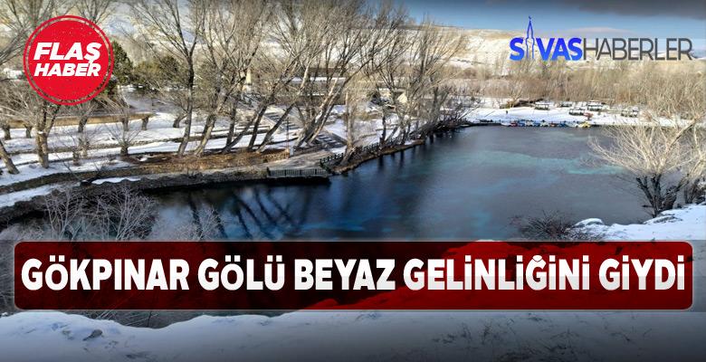 Sivas Gökpınar gölü kar yağışının etkisiyle bembeyaz oldu