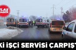 Sivas'ta çarpışan işçi servislerindeki 10 kişi yaralandı
