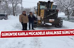 Gürün ilçesinde ekipler aralıksız kar temizliği yapıyor