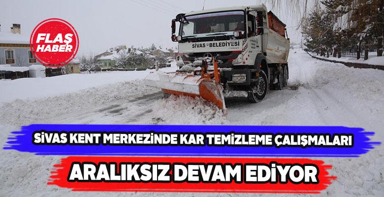 Sivas'ın merkezinde kar temizleme seferberliği