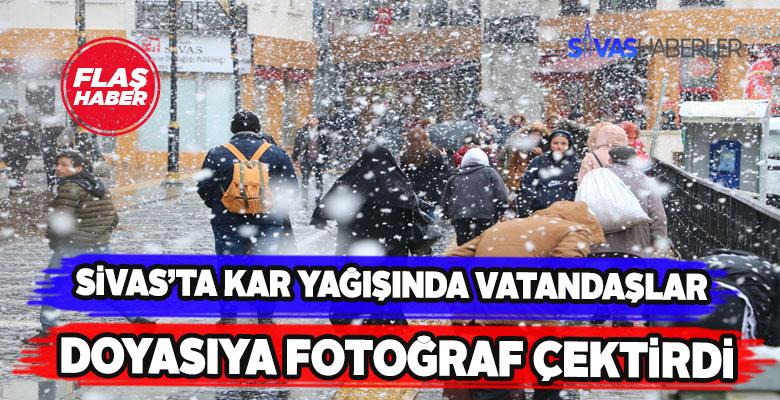 Sivaslılar kar manzarasında fotoğrafa doydu
