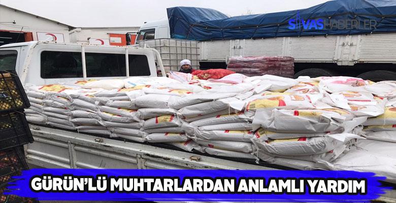 Gürün'de 2 mahalle Elazığ'a 3 minibüslük yardım gönderdi